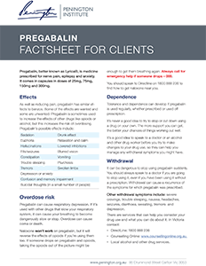 Pregabalin Fact Sheet for Clients