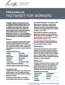Pregabalin Fact Sheet for Workers